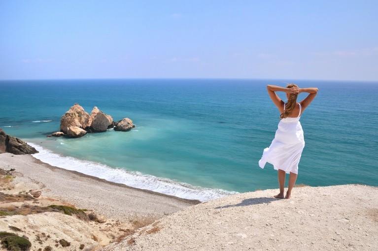 Widok na skałę Afrodyty, Cypr